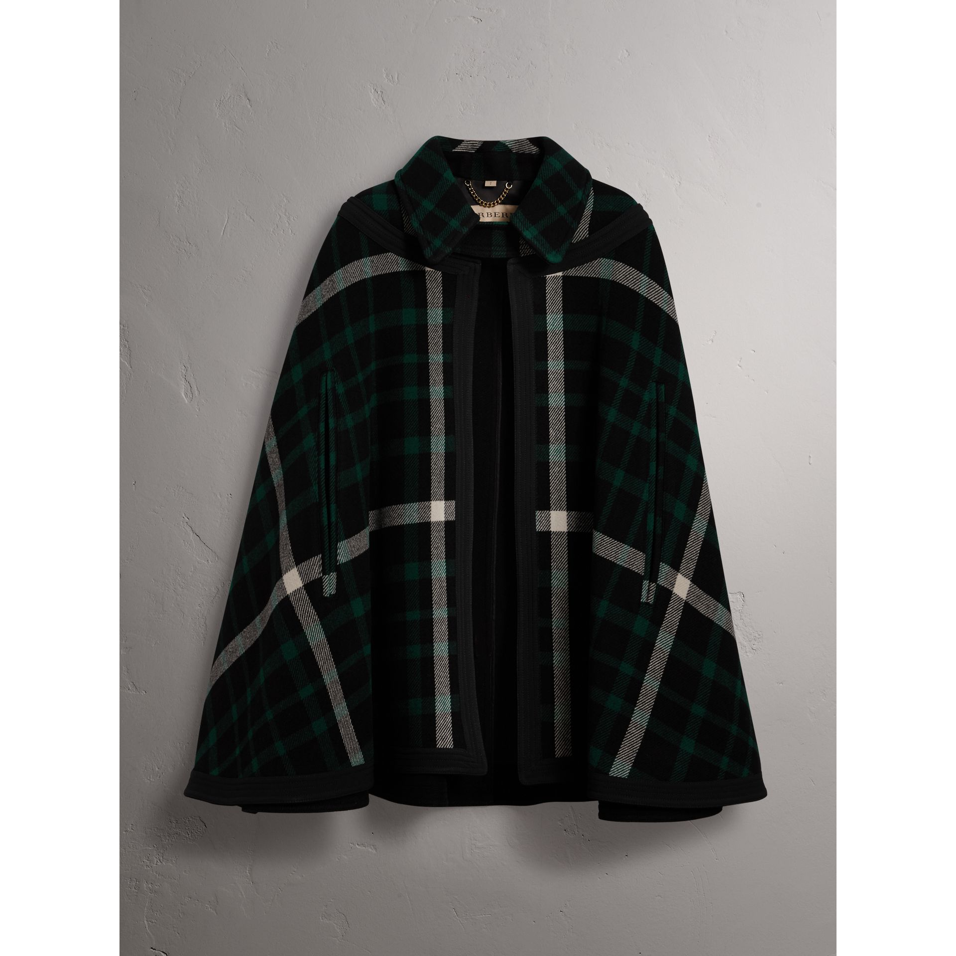 Exploded Tartan Wool Cape in Black/black - Women | Burberry - gallery image 4