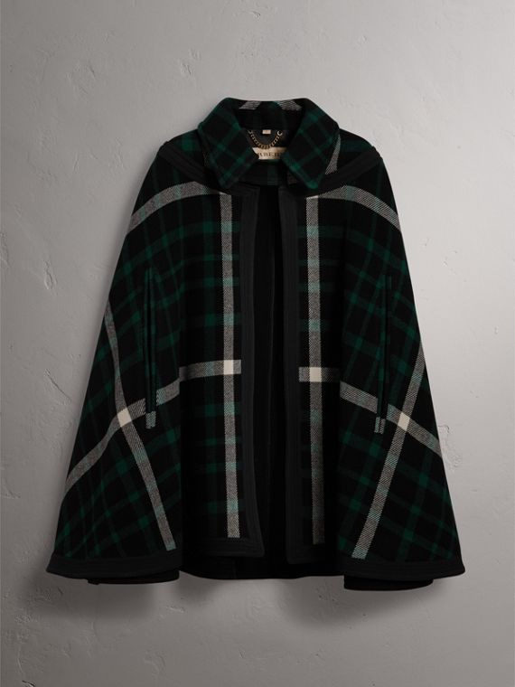 Exploded Tartan Wool Cape in Black/black - Women | Burberry - cell image 3