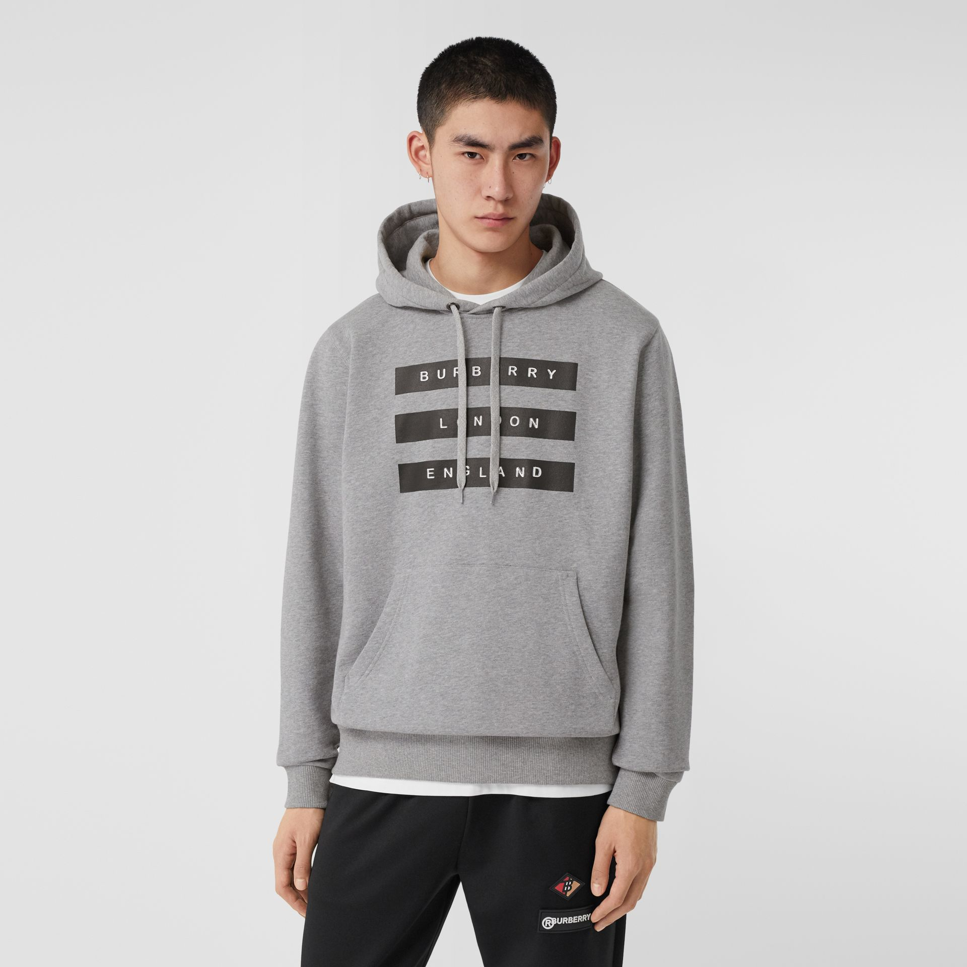 Tape Print Cotton Hoodie in Pale Grey Melange - Men | Burberry United Kingdom - gallery image 0
