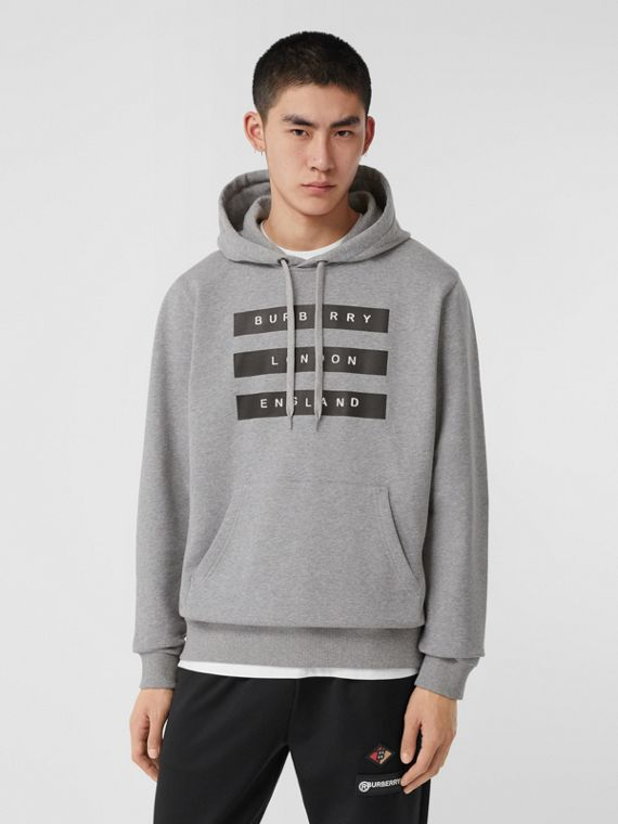 Tape Print Cotton Hoodie in Pale Grey Melange