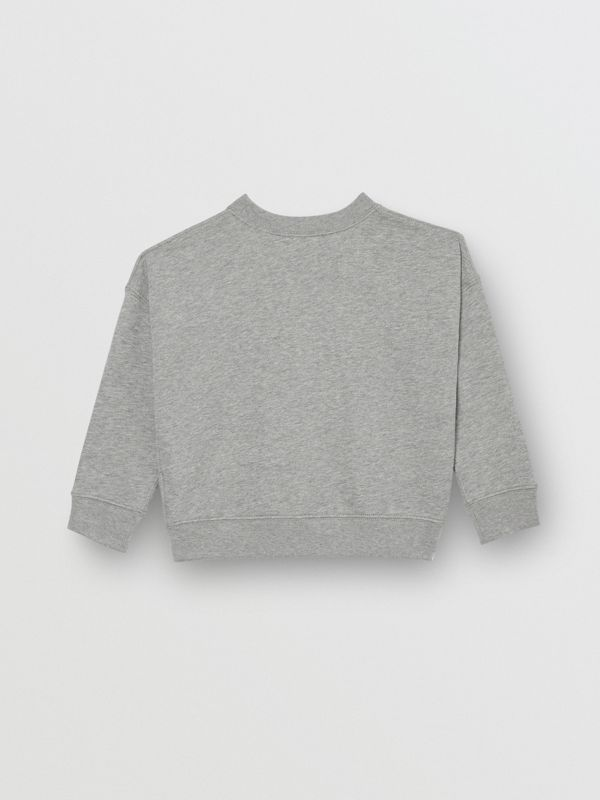 Kingdom Motif Cotton Sweatshirt in Grey Melange | Burberry Singapore - cell image 3