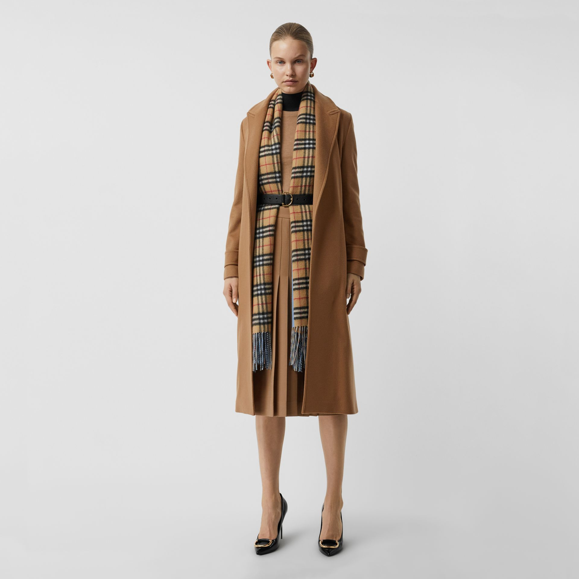 Peak Lapel Cashmere Wrap Coat in Dark Sand - Women | Burberry Canada - gallery image 0