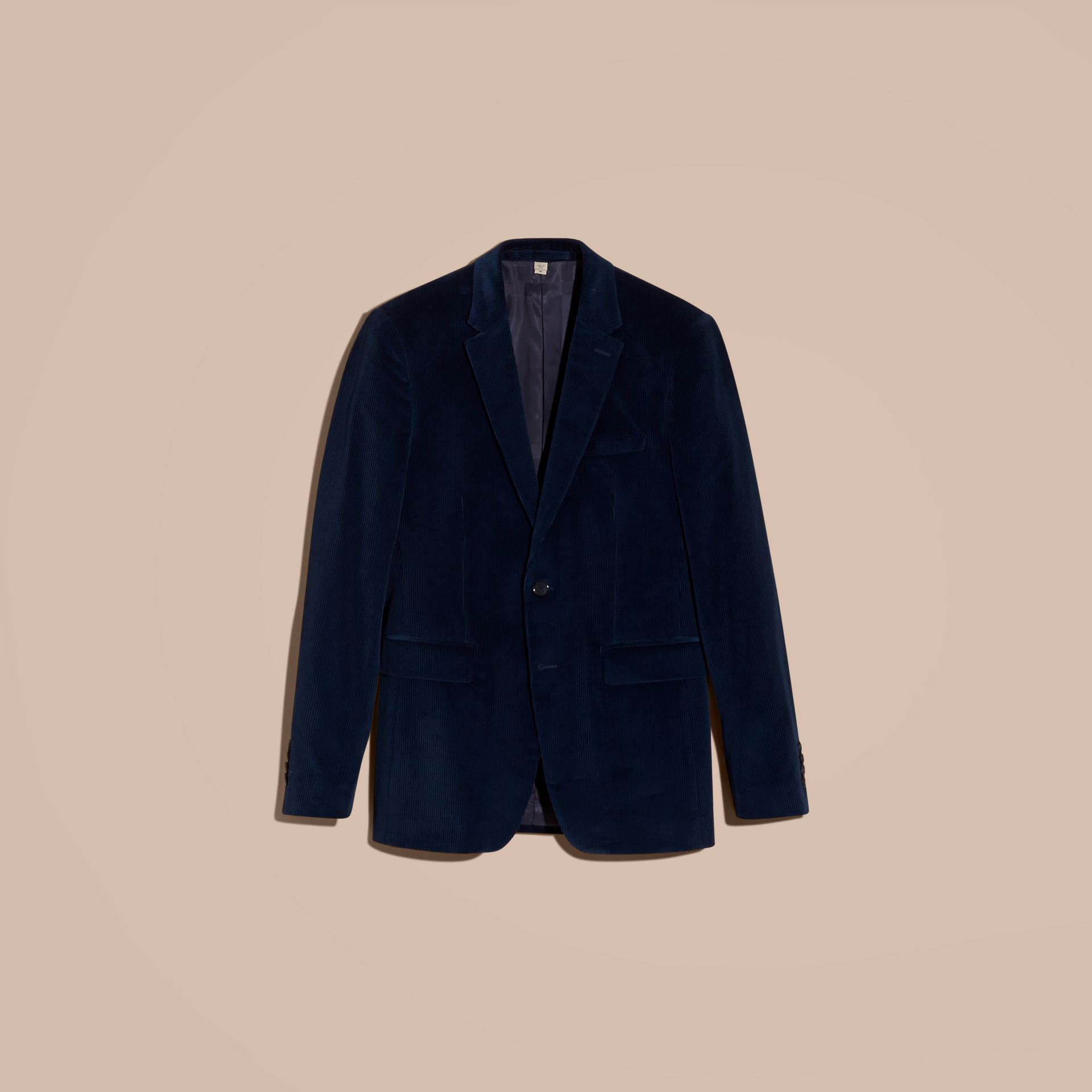 Navy Slim Fit Cotton Corduroy Jacket Navy - gallery image 4