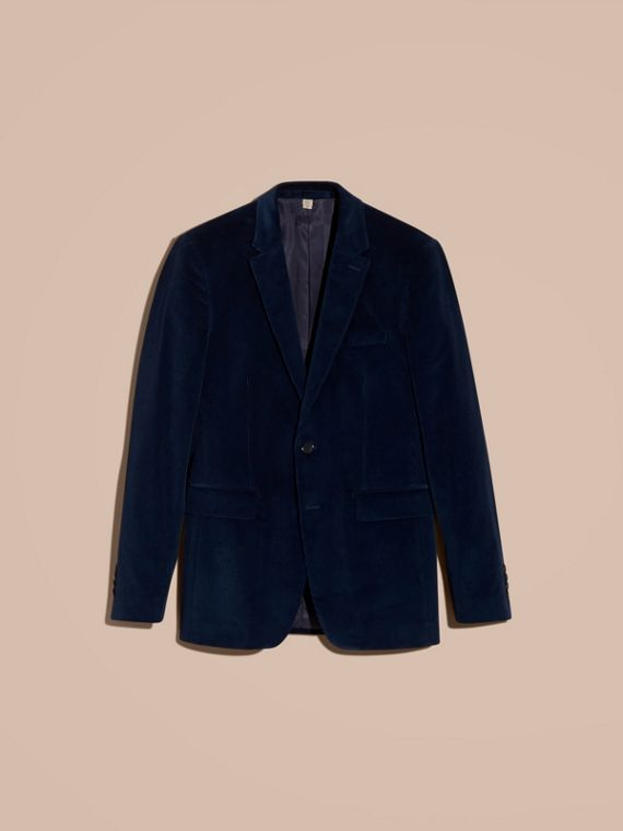 Navy Slim Fit Cotton Corduroy Jacket Navy - cell image 3