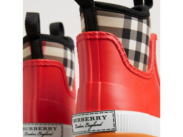 Vintage Check Neoprene and Rubber Rain Boots in Bright Red | Burberry Australia - cell image 1