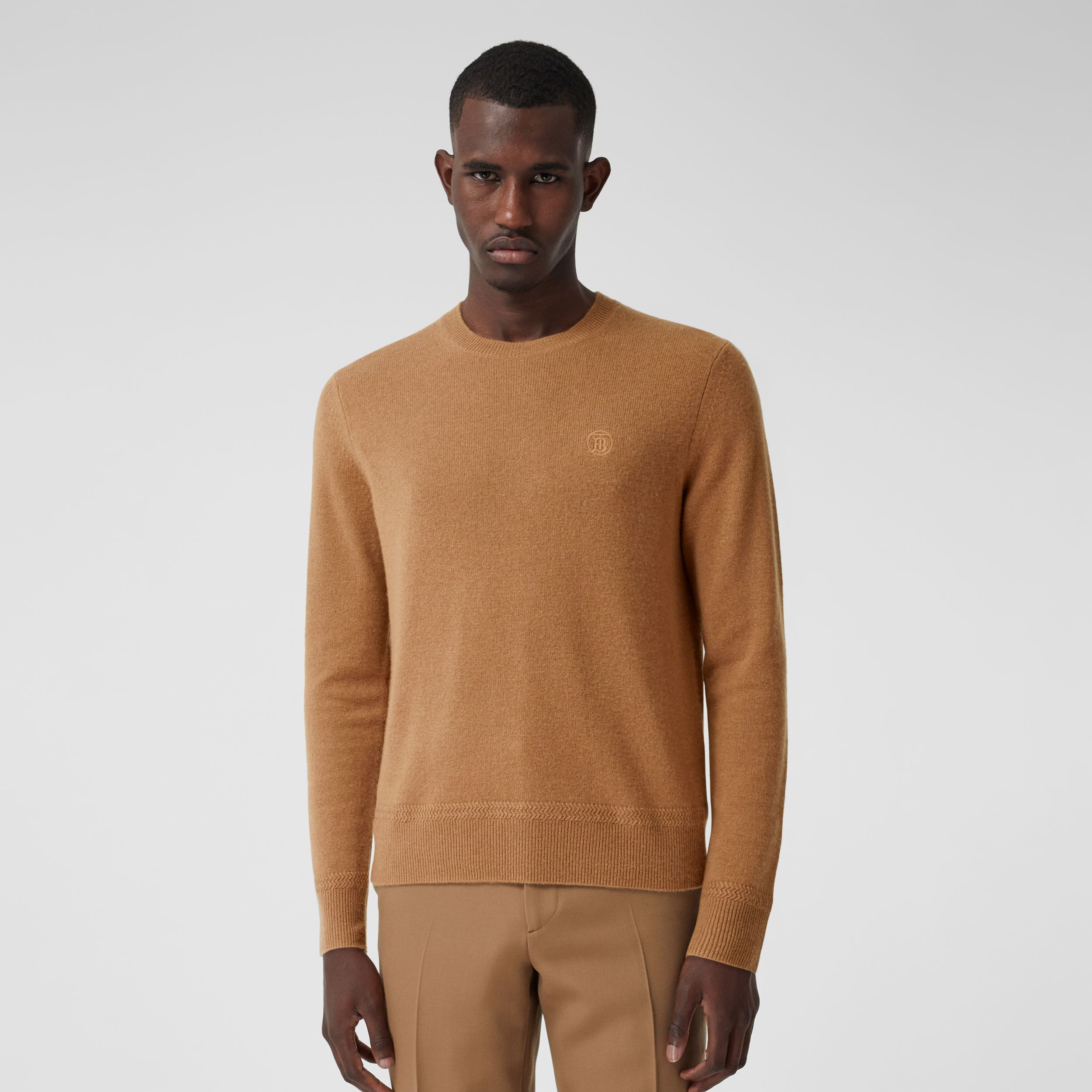 Monogram Motif Cashmere Sweater in Camel - Men | Burberry Singapore - 1
