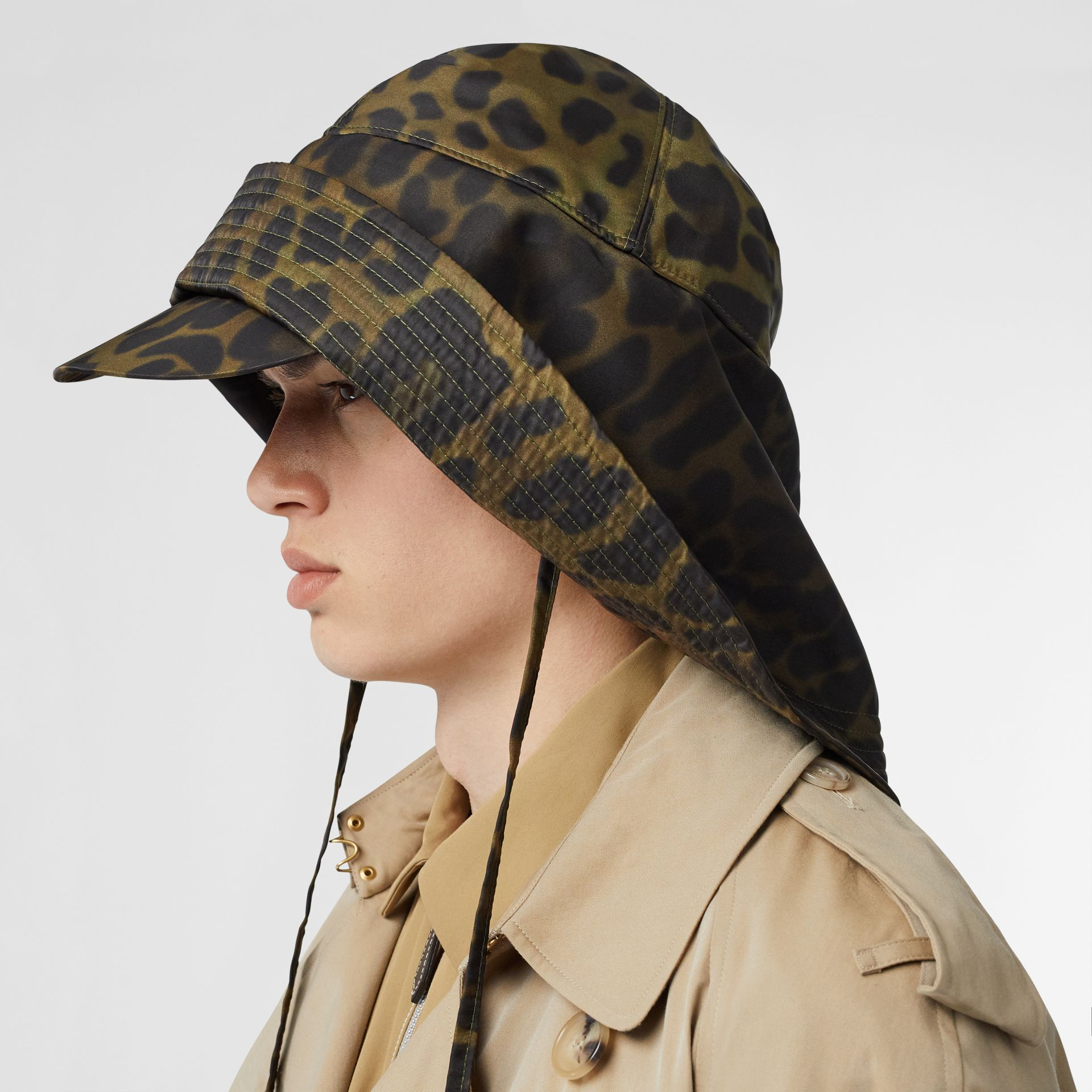 Animal Print Rain Hat in Light Green - Men | Burberry - gallery image 3