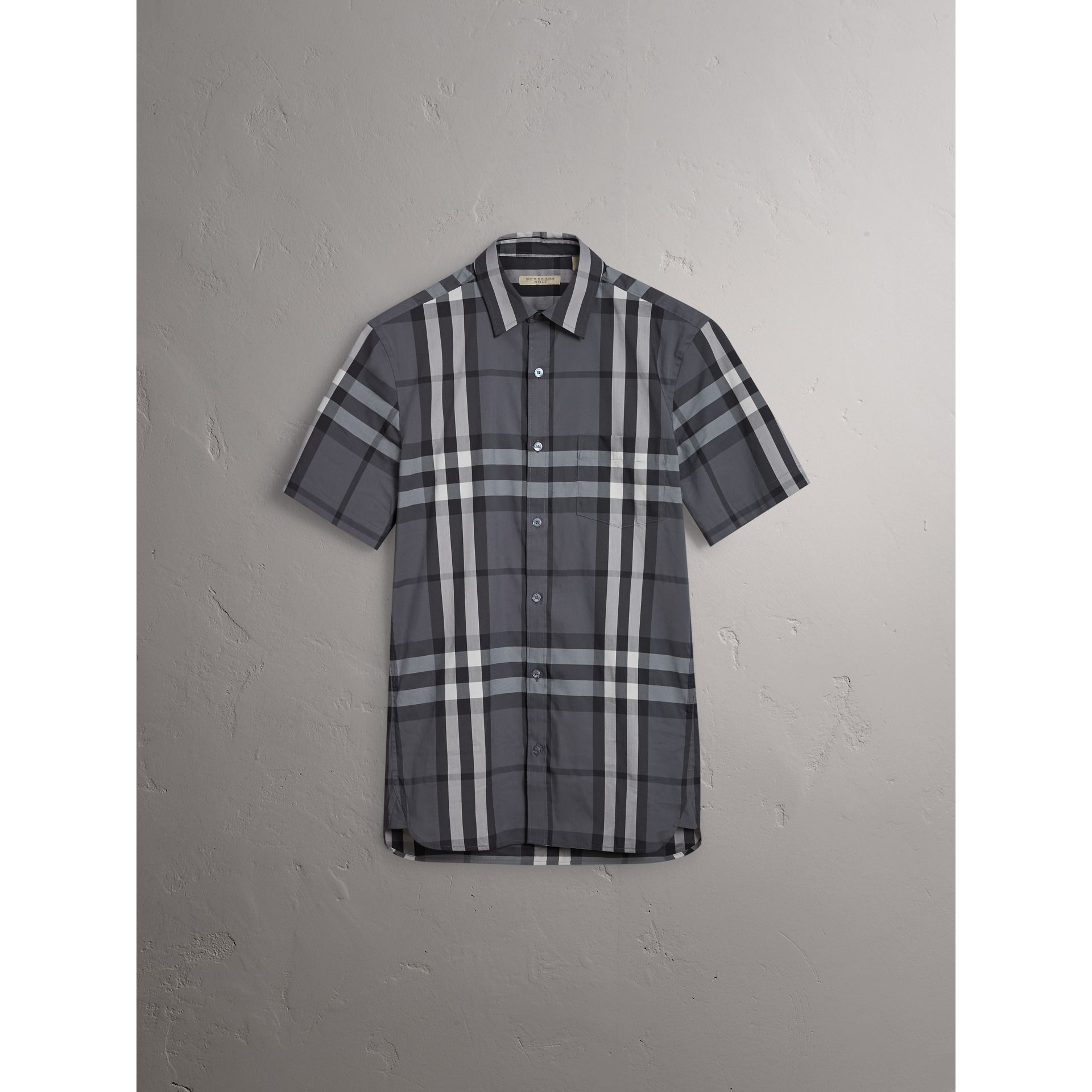 Short-sleeved Check Stretch Cotton Shirt in Charcoal - Men | Burberry Australia - gallery image 3