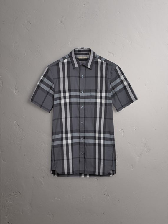 Short-sleeved Check Stretch Cotton Shirt in Charcoal - Men | Burberry United Kingdom - cell image 3