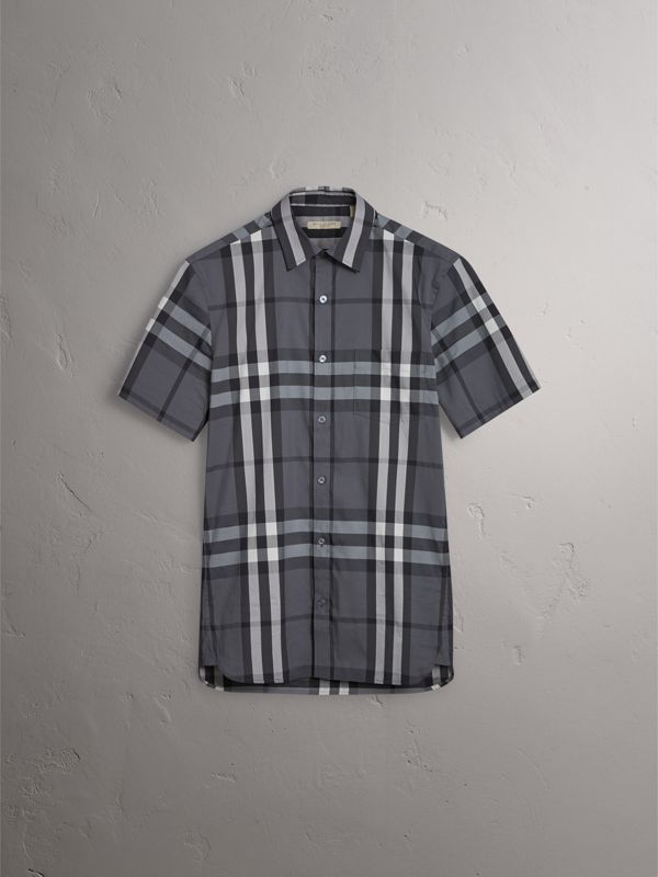Short-sleeved Check Stretch Cotton Shirt in Charcoal - Men | Burberry United States - cell image 3