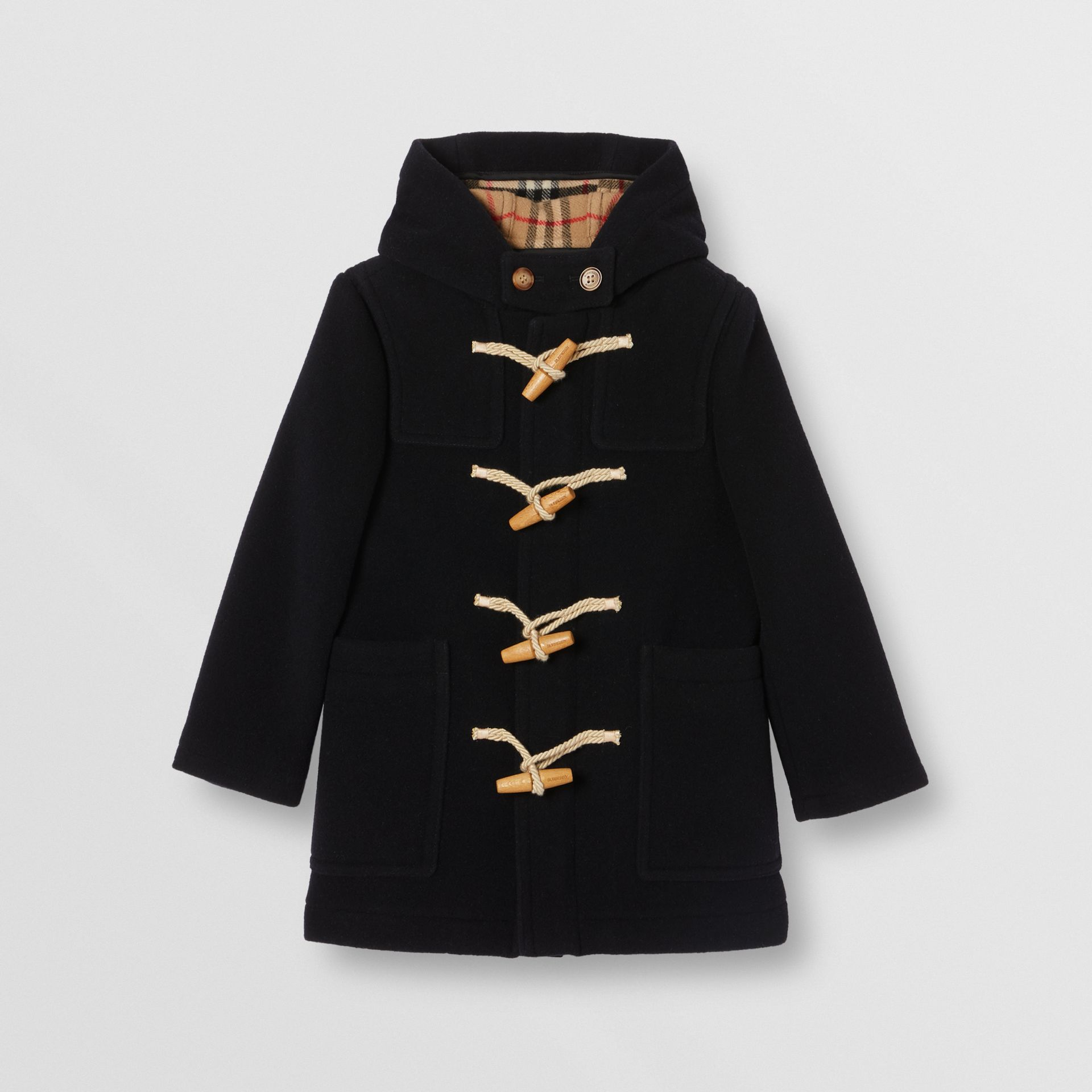 Boiled Wool Duffle Coat in Navy | Burberry - gallery image 0