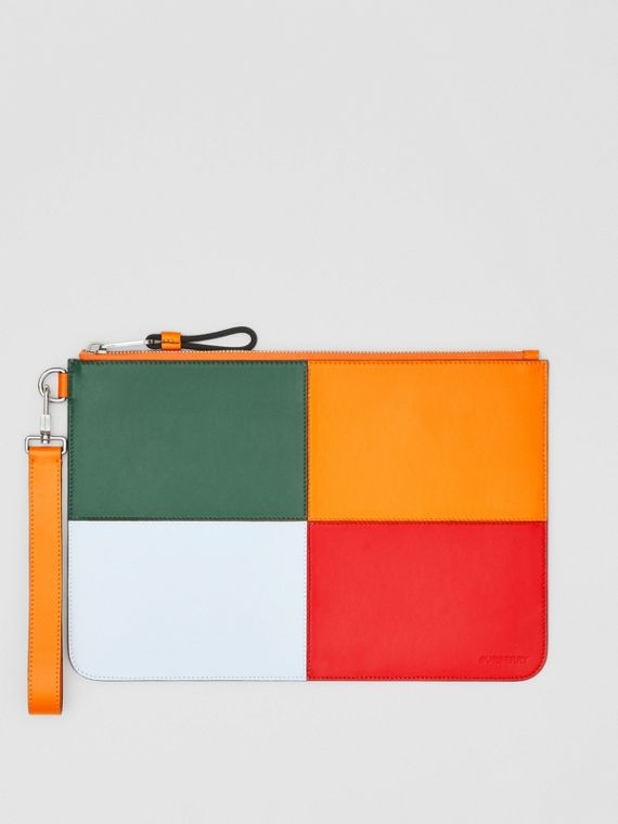 Colour Block Leather Zip Pouch in Blue/orange