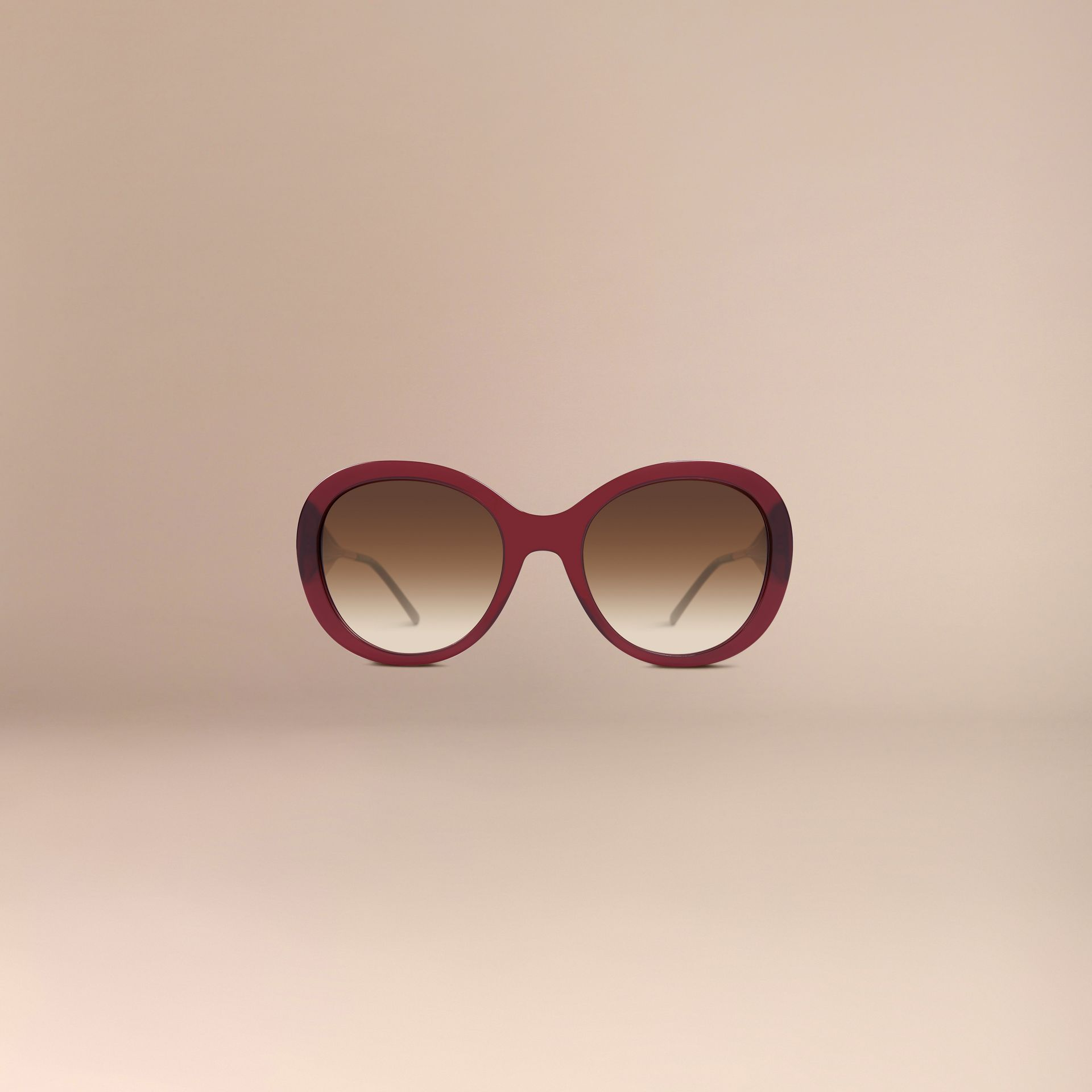 Oxblood Oversize Round Frame Sunglasses Oxblood - gallery image 3