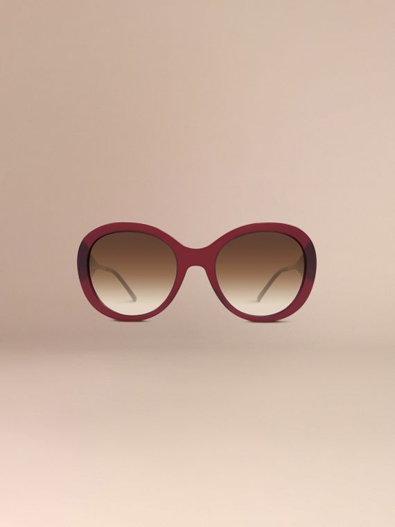 Oxblood Oversize Round Frame Sunglasses Oxblood - cell image 2