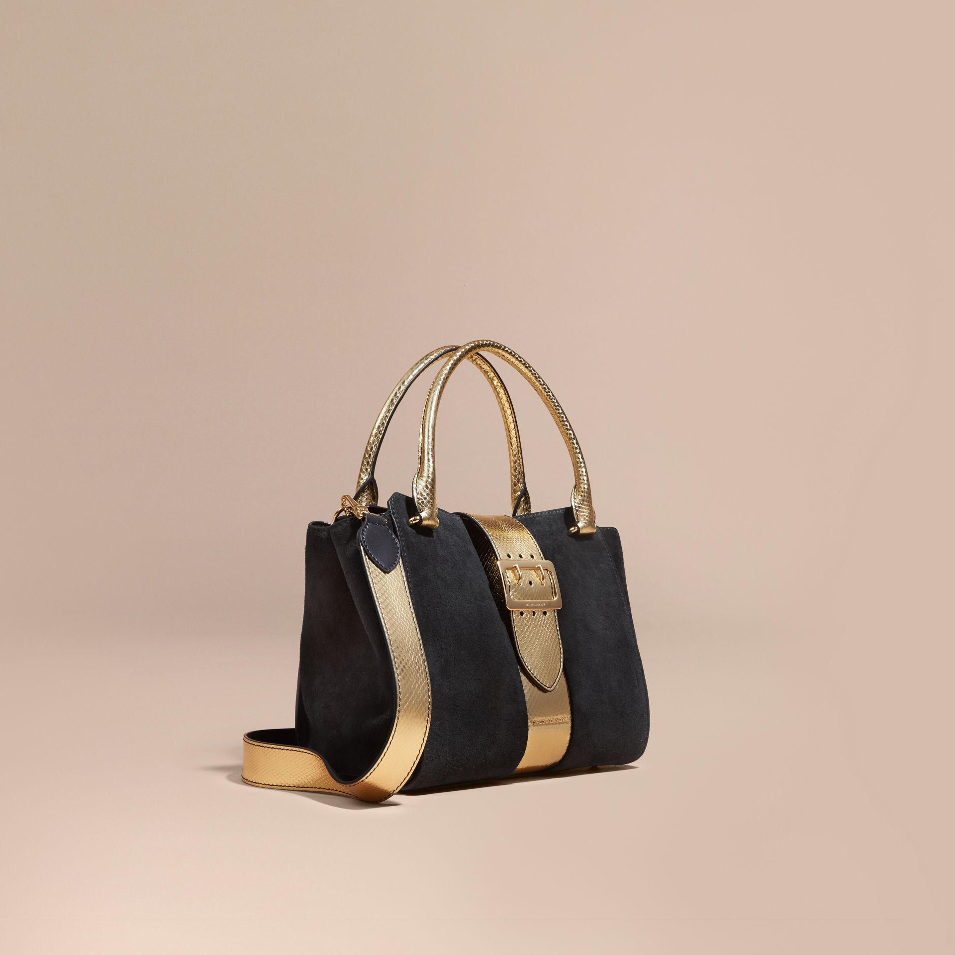 Black/gold The Medium Buckle Tote in Suede and Snakeskin - gallery image 1