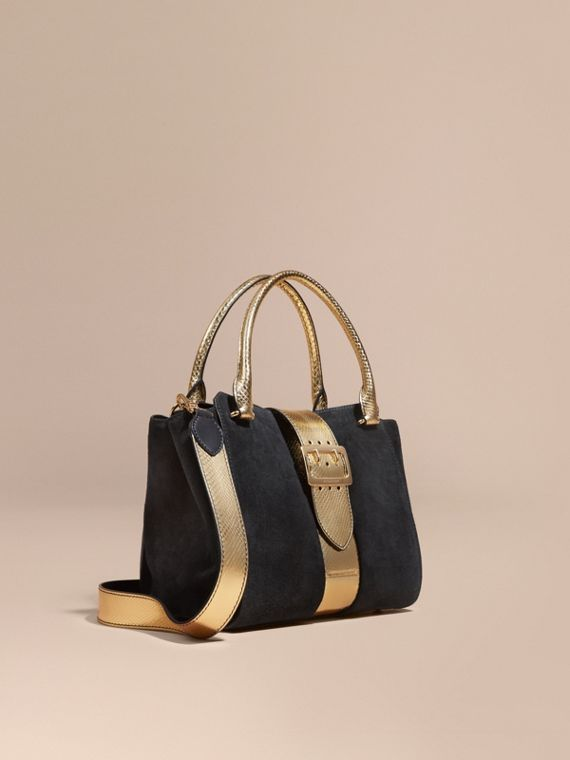 The Medium Buckle Tote in Suede and Snakeskin