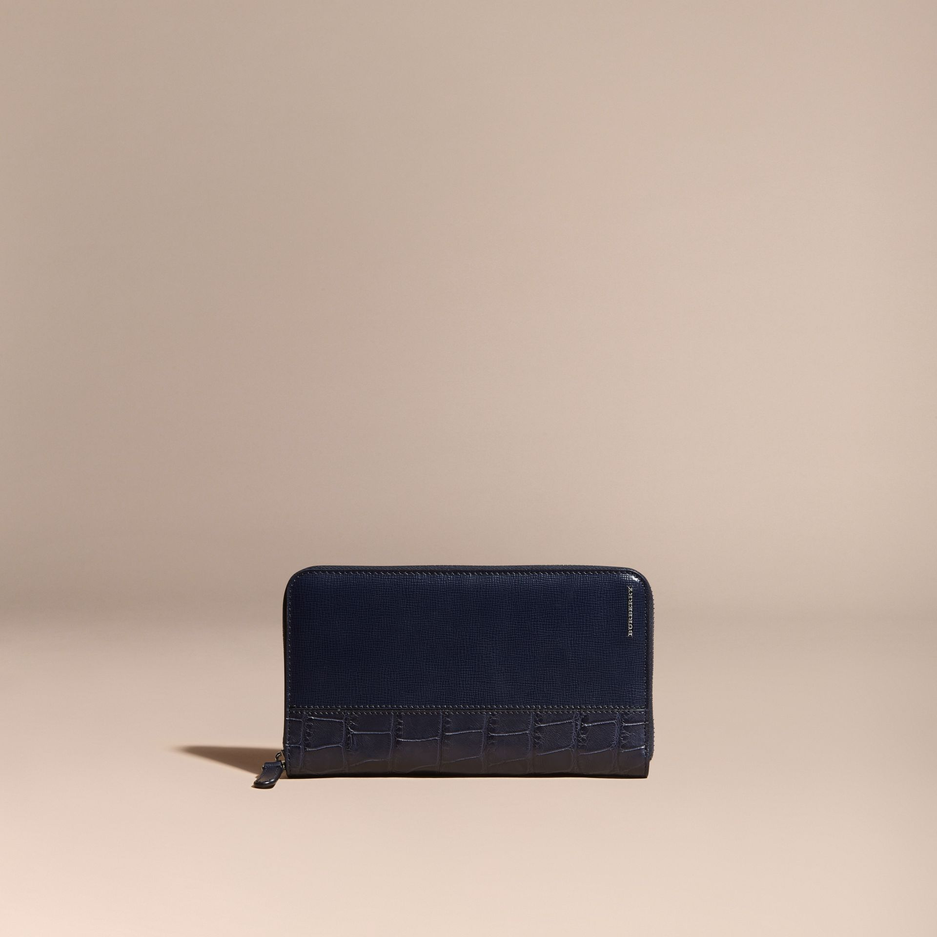 London Leather and Alligator Ziparound Wallet in Dark Navy - gallery image 6