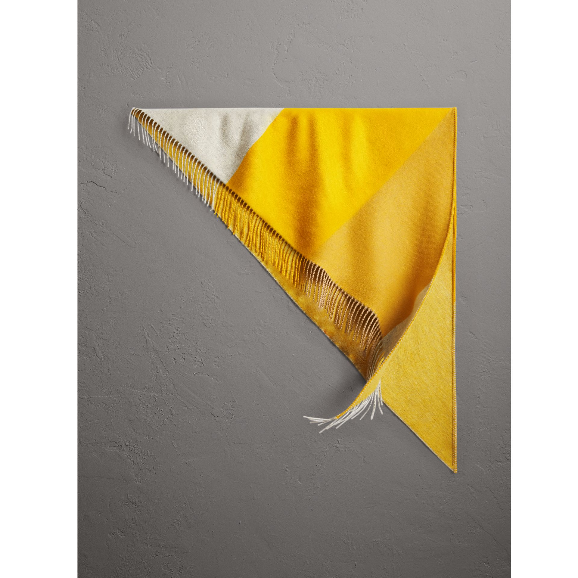 The Burberry Bandana in Striped Cashmere in Gorse Yellow | Burberry United Kingdom - gallery image 0