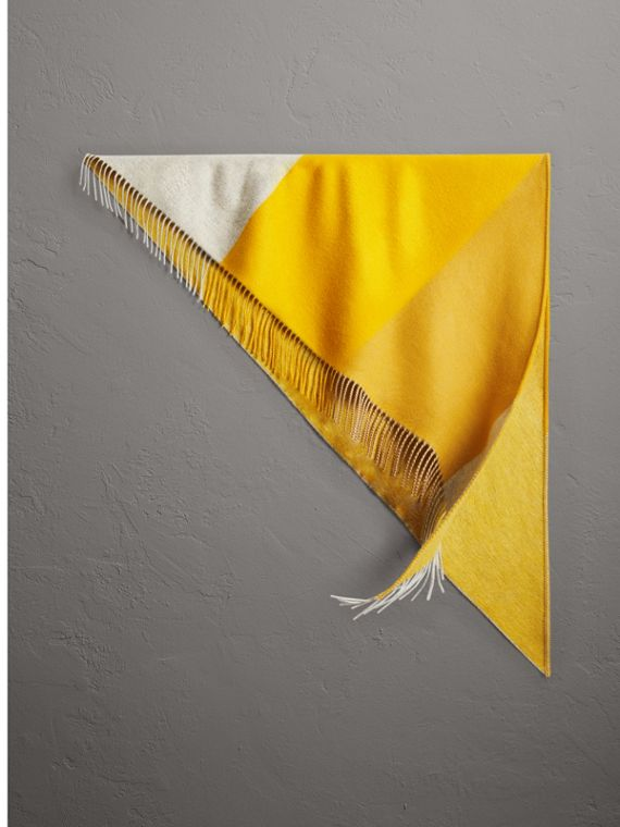 The Burberry Bandana in Striped Cashmere in Gorse Yellow