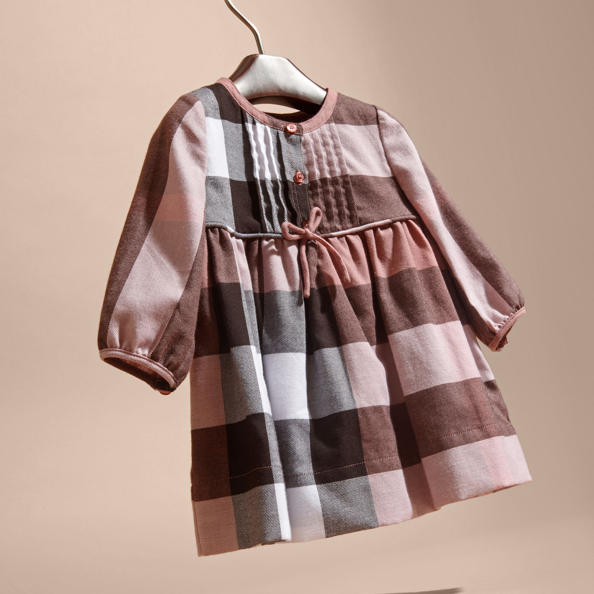 Antique rose Check Cotton Flannel Dress with Bow Detail Antique Rose - gallery image 3