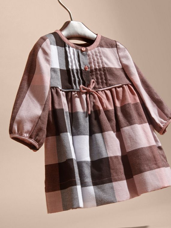 Antique rose Check Cotton Flannel Dress with Bow Detail - cell image 2