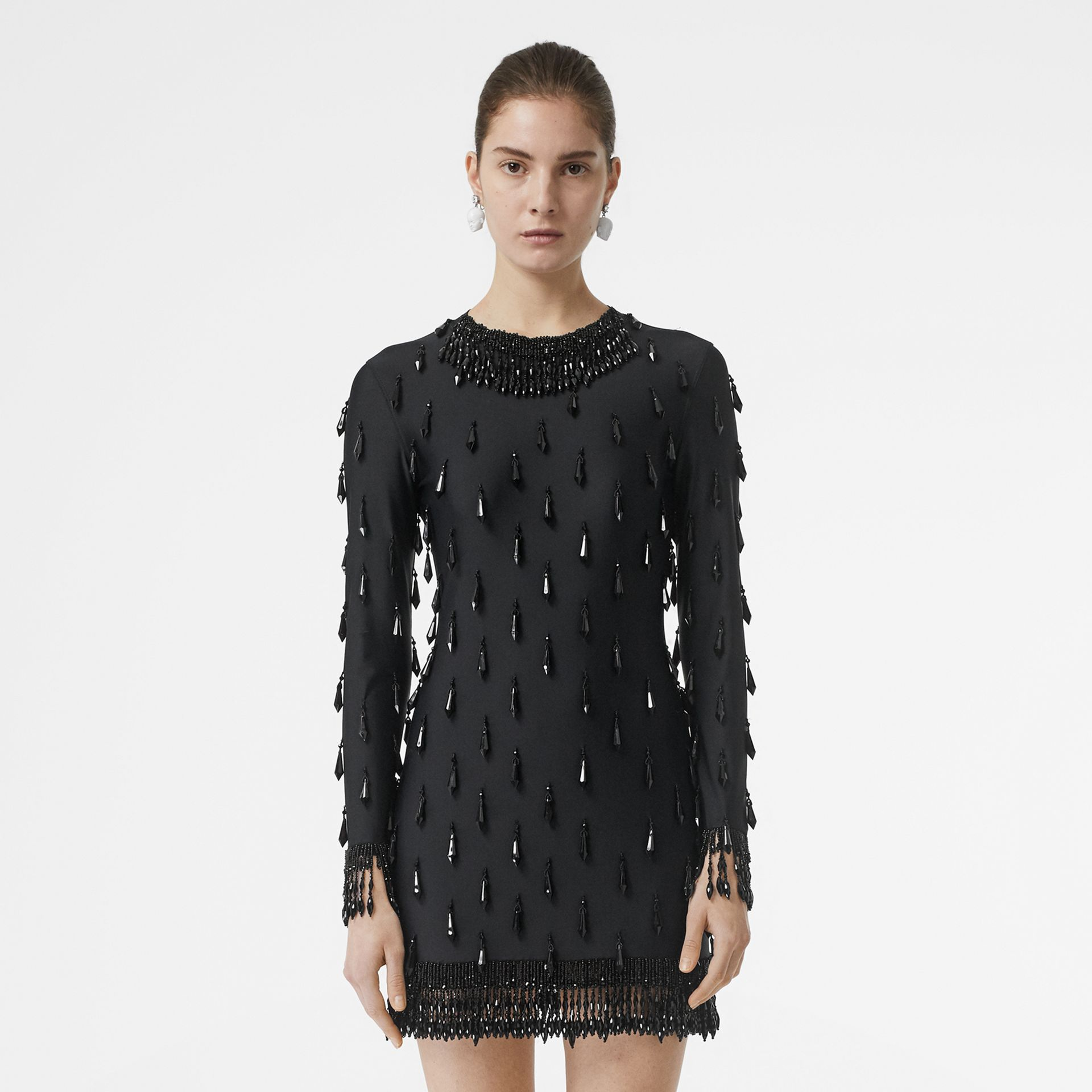 Long-sleeve Embellished Mini Dress in Black - Women | Burberry Hong Kong - gallery image 0