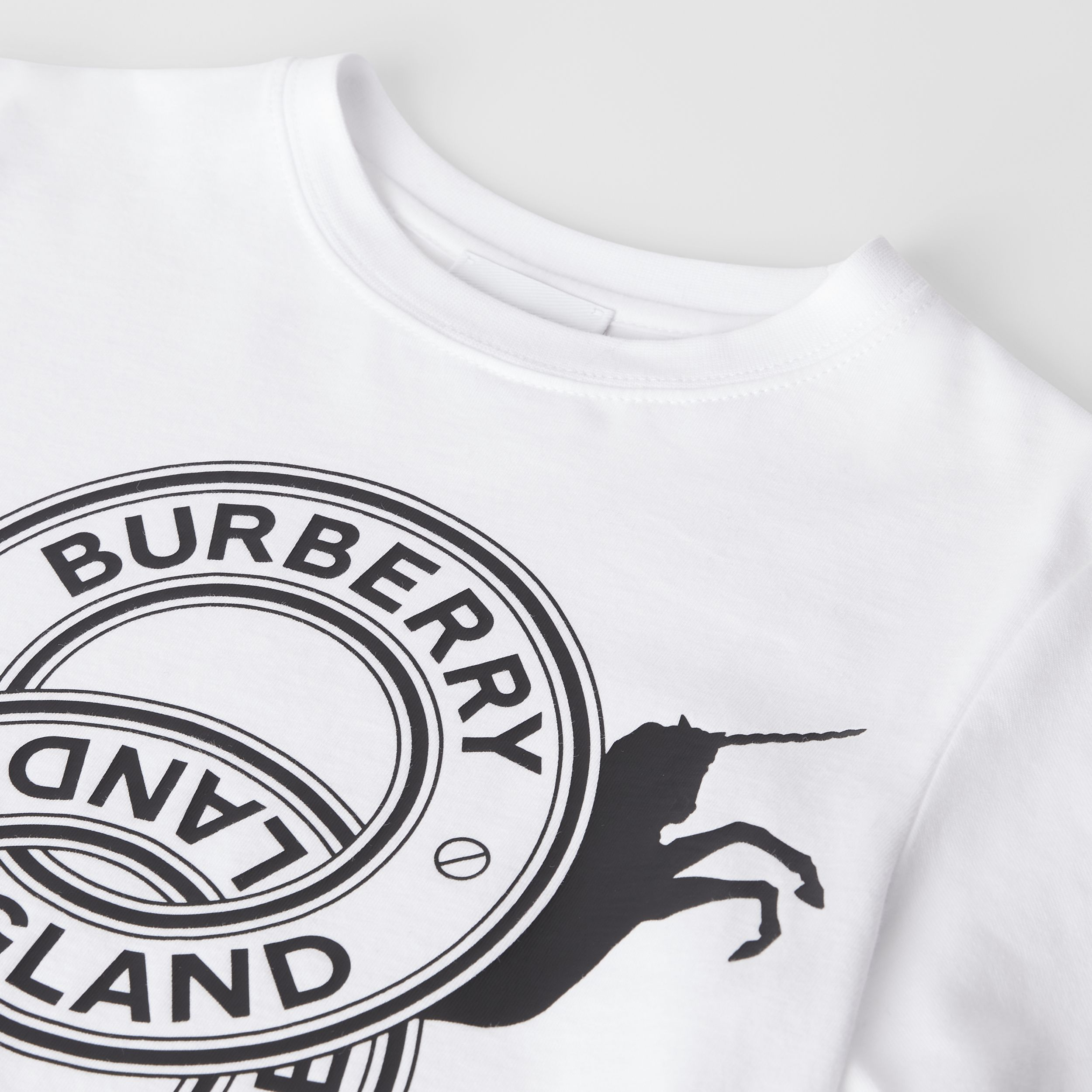 Logo Graphic and Unicorn Print Cotton T-shirt in White | Burberry - 2