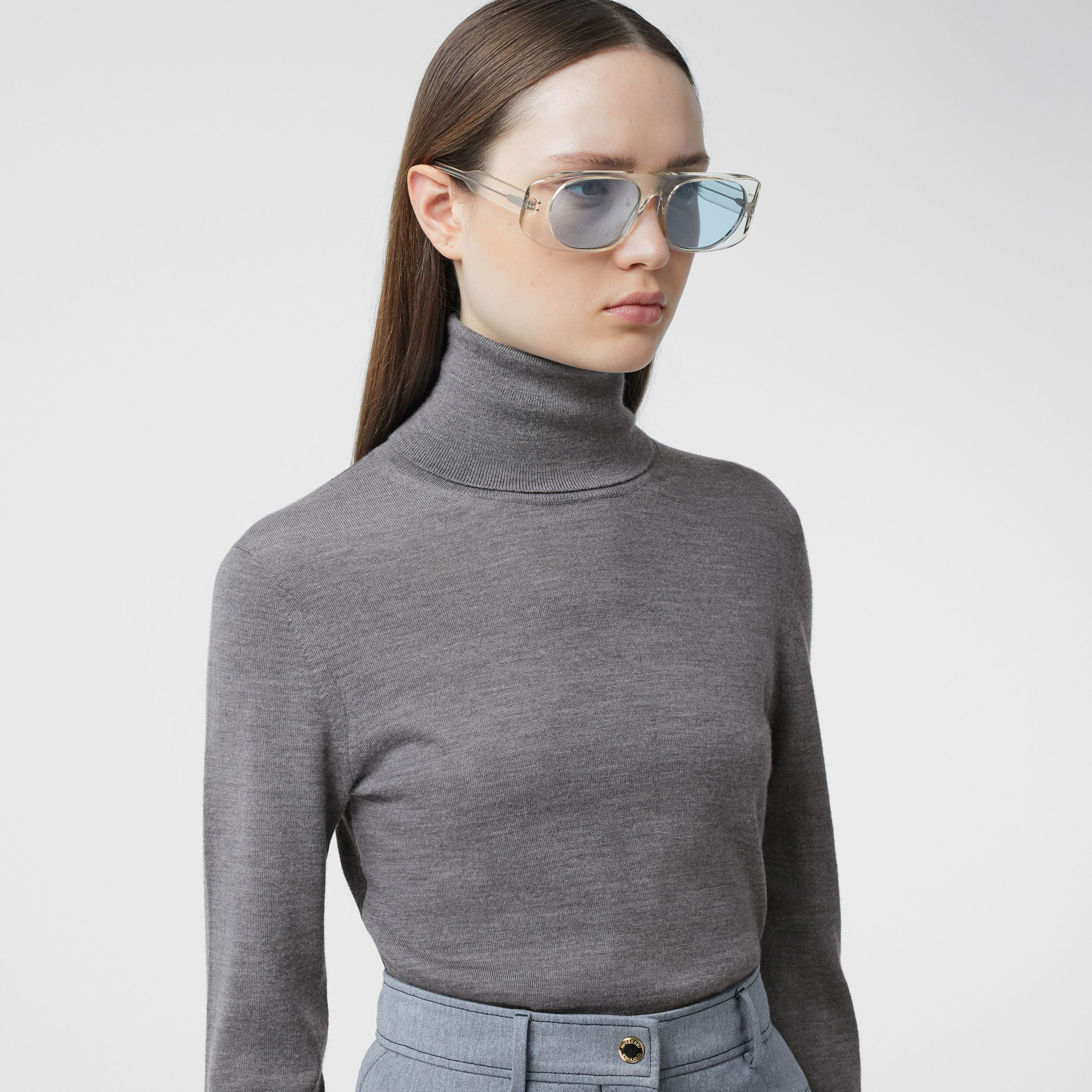 Two-tone Merino Wool Silk Roll-neck Sweater in Grey Melange - Women | Burberry - 2