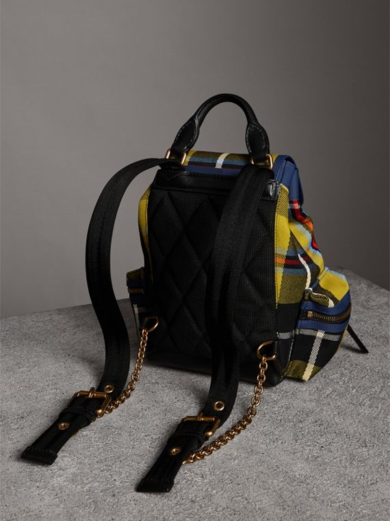 The Small Rucksack in Check Cotton and Leather in Flax Yellow - Women | Burberry Canada - cell image 3