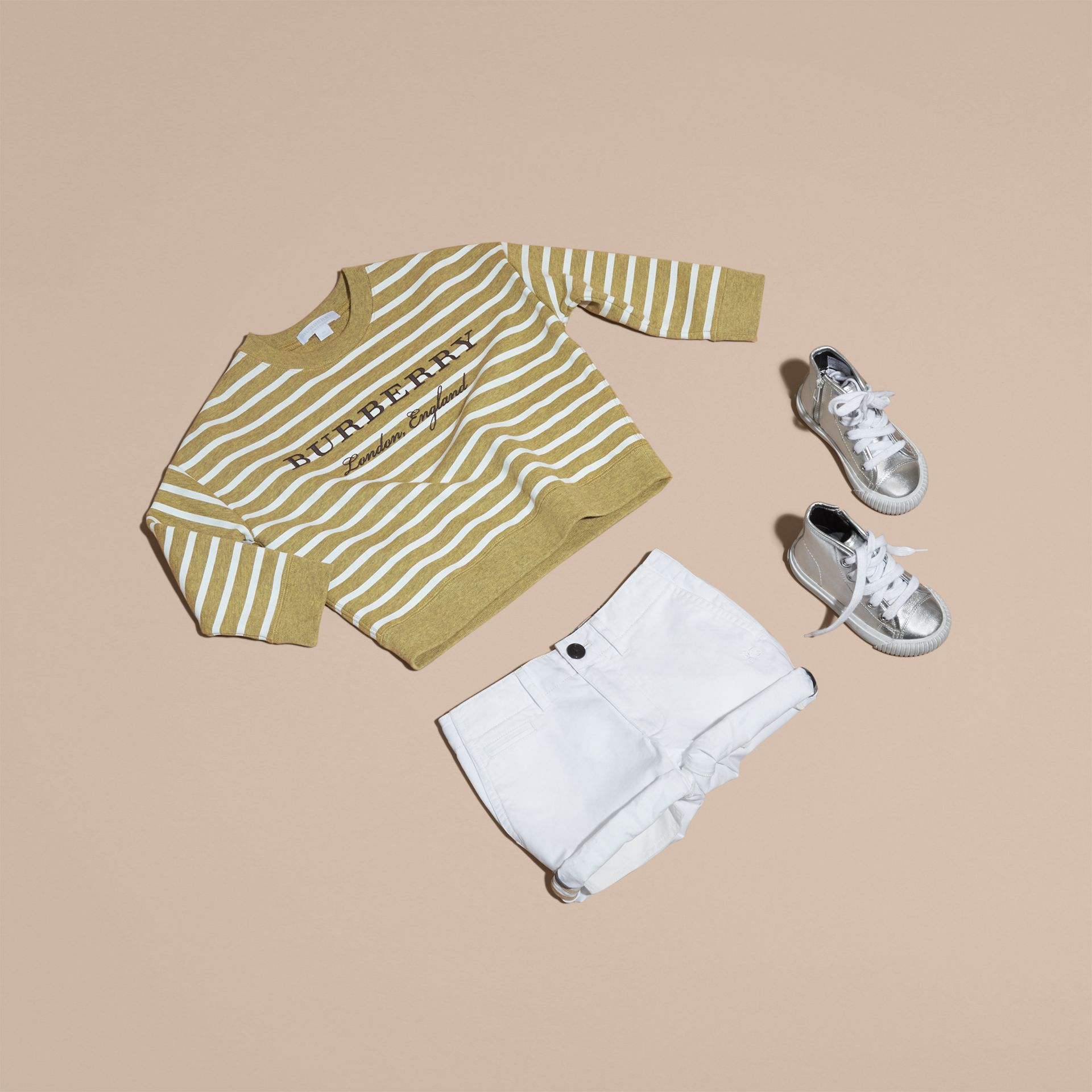 Striped Cotton Sweatshirt in Gorse Yellow Melange - Girl | Burberry - gallery image 5
