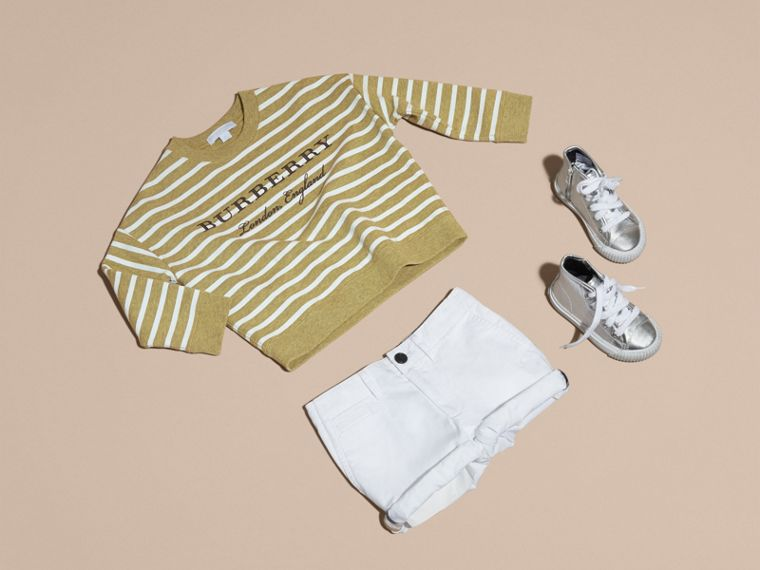Striped Cotton Sweatshirt in Gorse Yellow Melange | Burberry - cell image 4