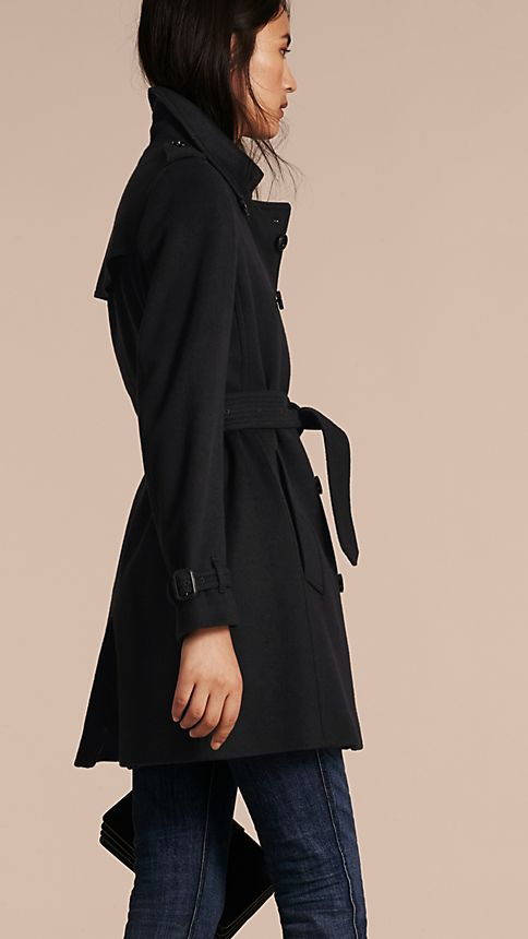 Black Virgin Wool Cashmere Trench Coat - Image 3