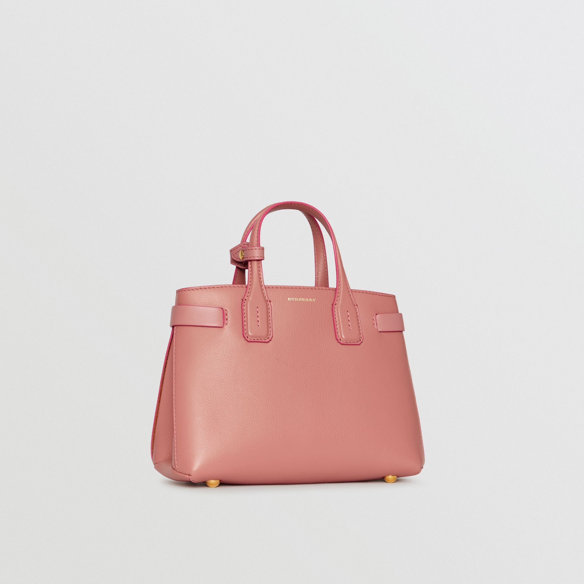 The Small Banner in Leather and Vintage Check in Dusty Rose - Women | Burberry - gallery image 6