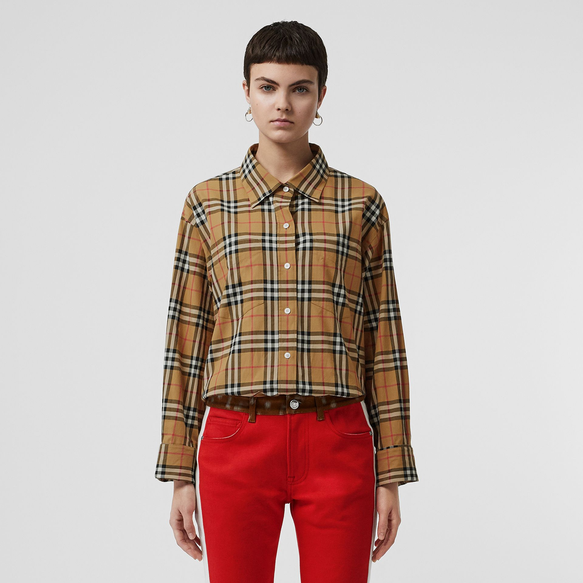 Vintage Check Cotton Oversized Shirt in Antique Yellow - Women | Burberry - gallery image 5