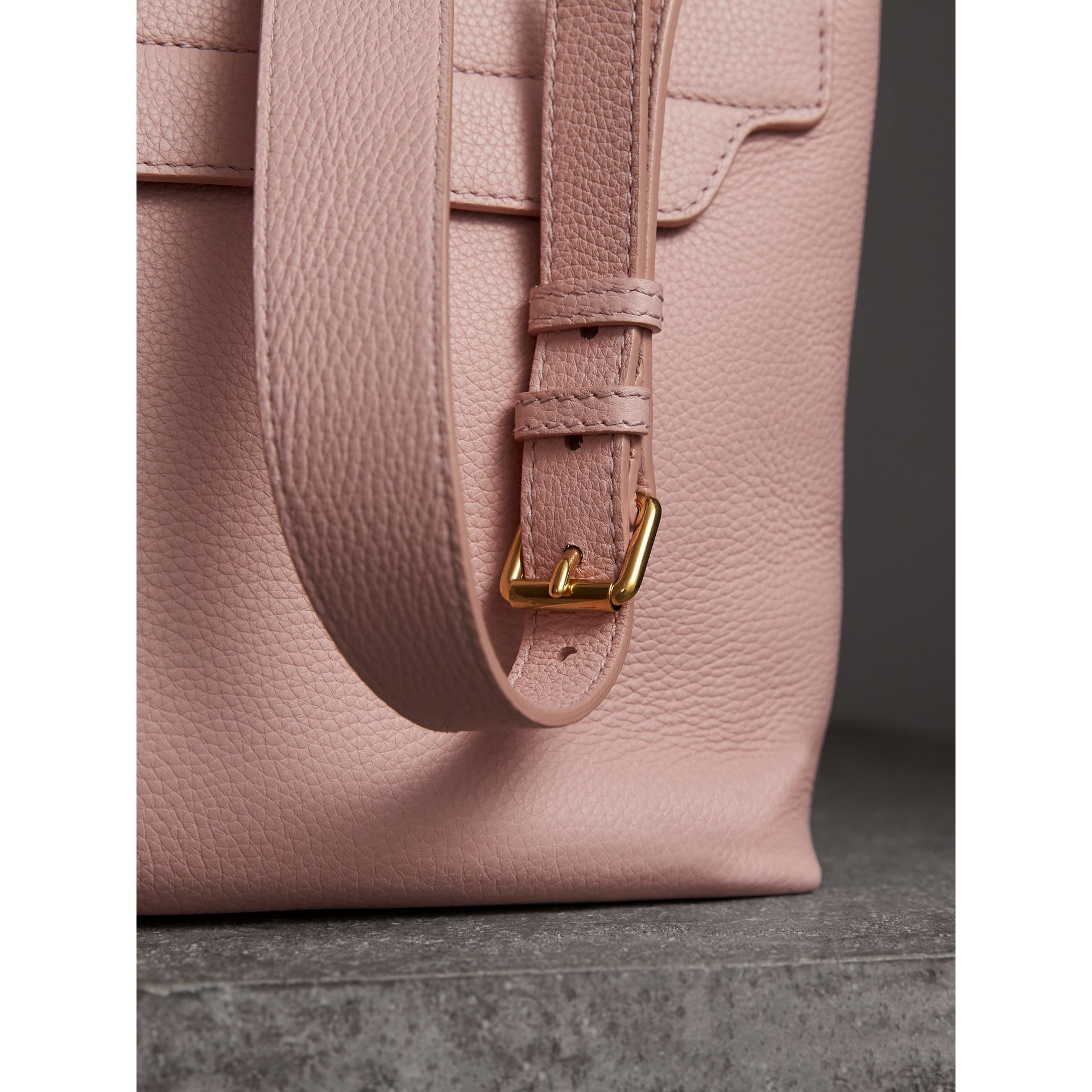 Medium Embossed Leather Messenger Bag in Pale Ash Rose - Women | Burberry United Kingdom - gallery image 1