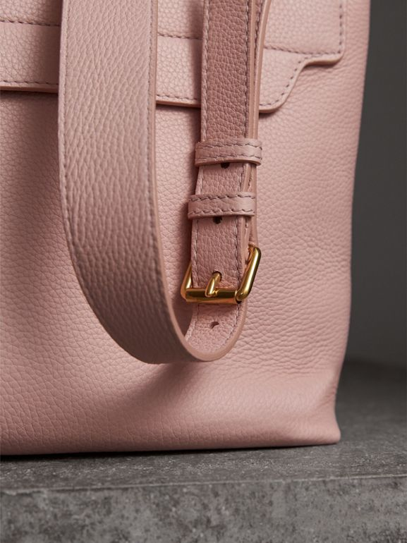 Medium Embossed Leather Messenger Bag in Pale Ash Rose | Burberry - cell image 1