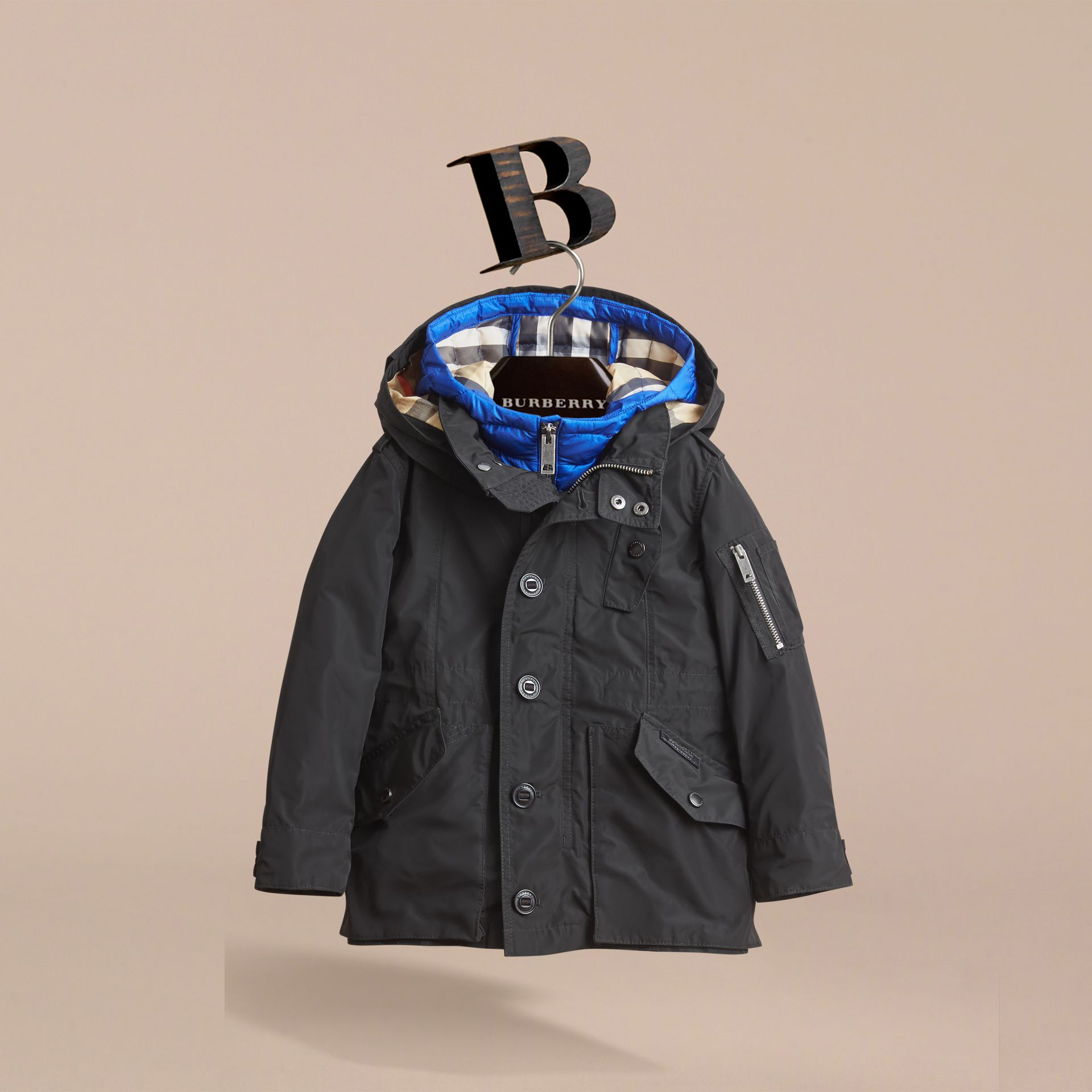 Detachable Hood Coat with  Down-filled Gilet in Black - Boy | Burberry - gallery image 3