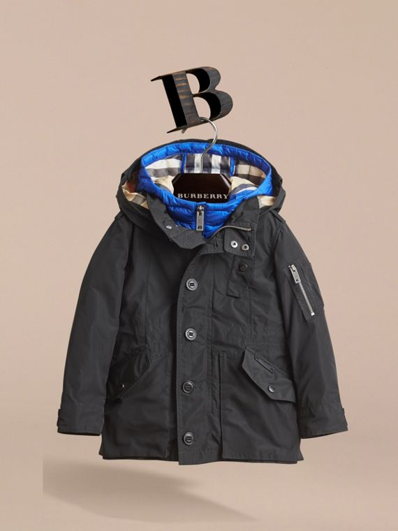 Detachable Hood Coat with  Down-filled Gilet in Black - Boy | Burberry - cell image 2