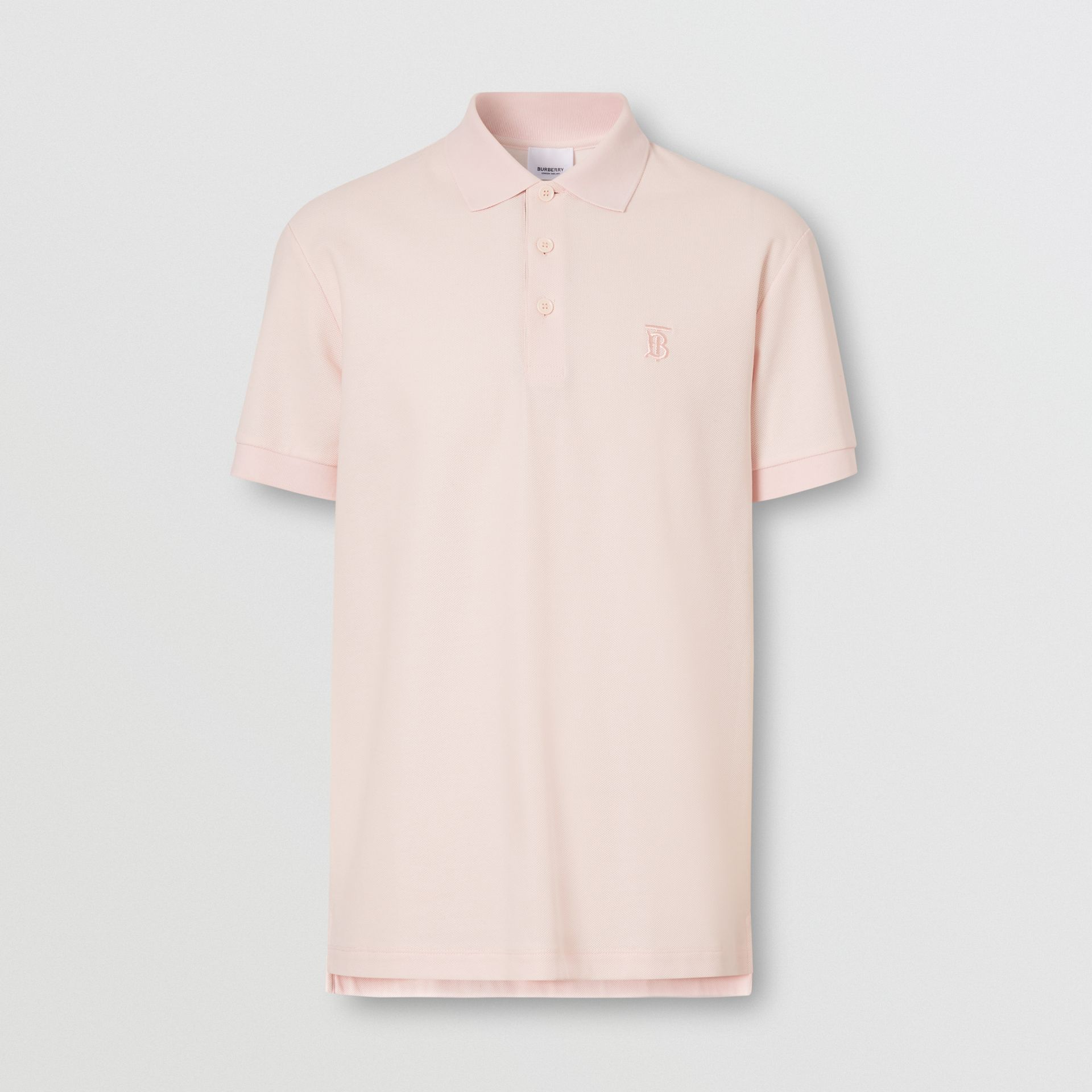 Monogram Motif Cotton Piqué Polo Shirt in Alabaster Pink - Men | Burberry United Kingdom - gallery image 3