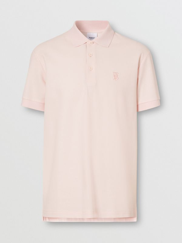 Monogram Motif Cotton Piqué Polo Shirt in Alabaster Pink - Men | Burberry United Kingdom - cell image 3
