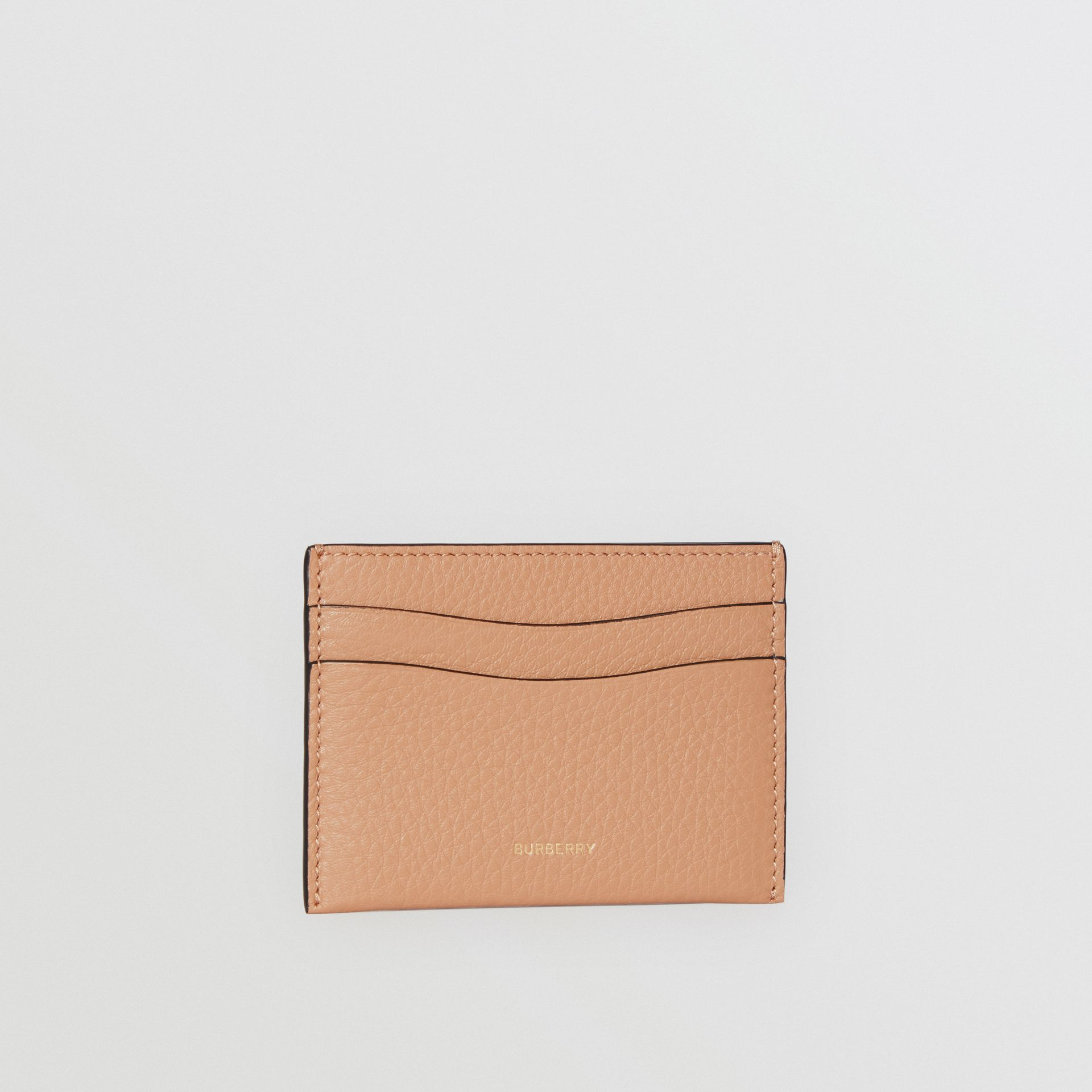 Grainy Logo Leather Card Case in Light Camel - Women | Burberry - gallery image 3