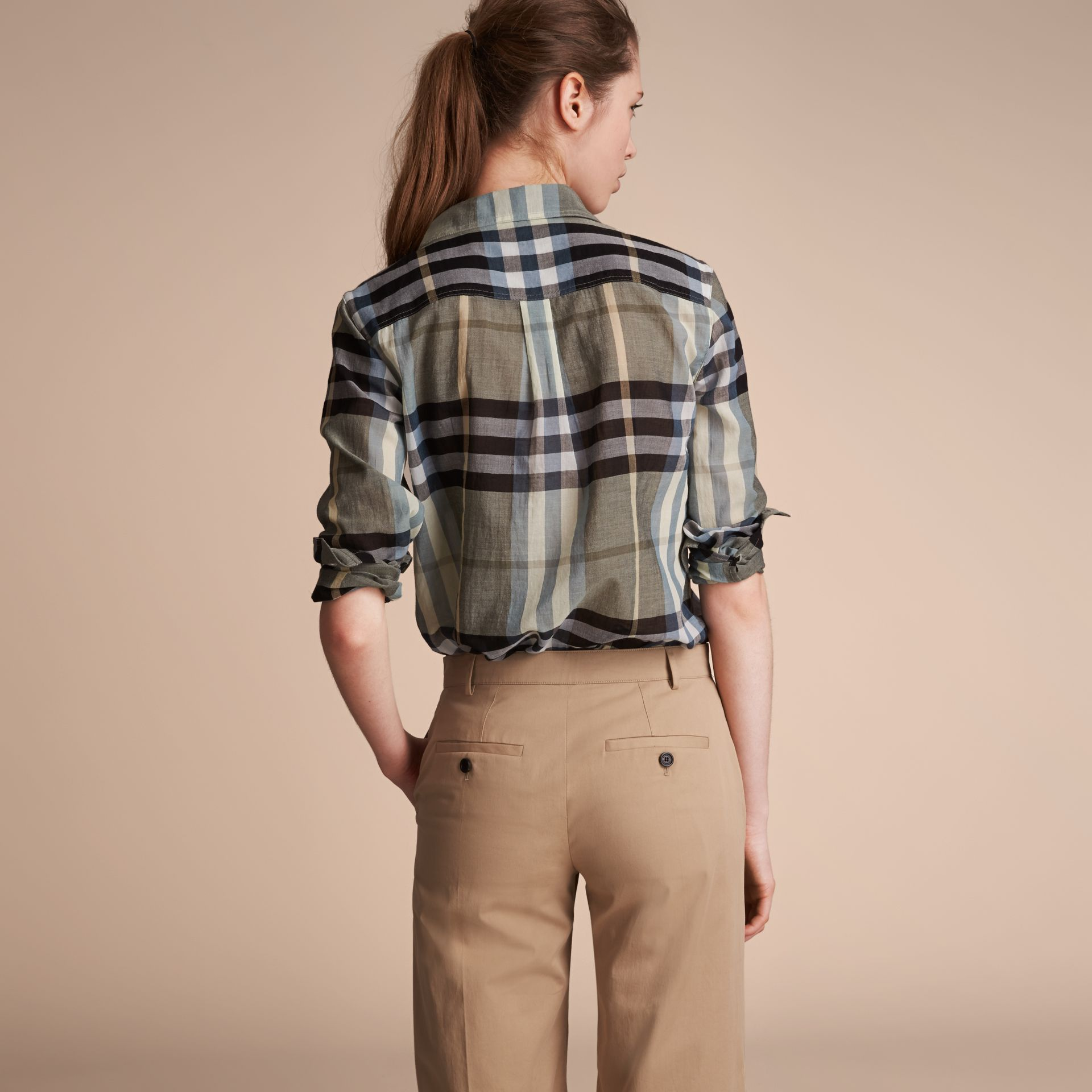 Check Cotton Shirt in Stone Green - Women | Burberry - gallery image 3