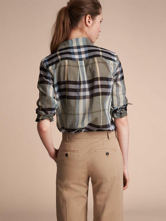 Check Cotton Shirt in Stone Green - Women | Burberry Australia - cell image 2