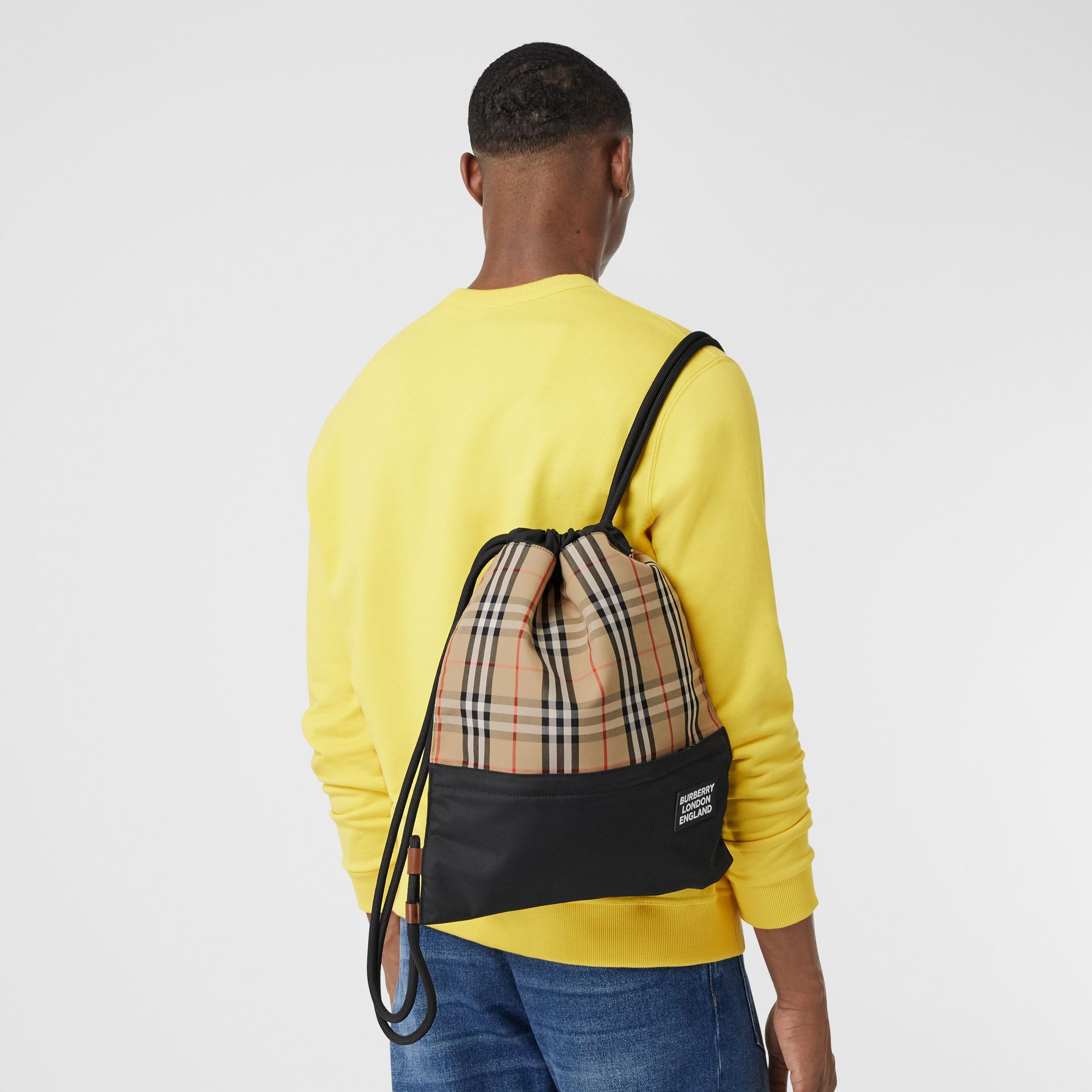 Vintage Check Panel Drawcord Backpack in Archive Beige | Burberry - gallery image 3