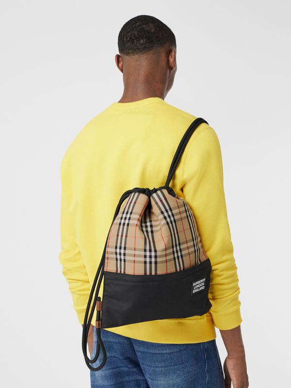 Vintage Check Panel Drawcord Backpack in Archive Beige | Burberry Canada - cell image 3