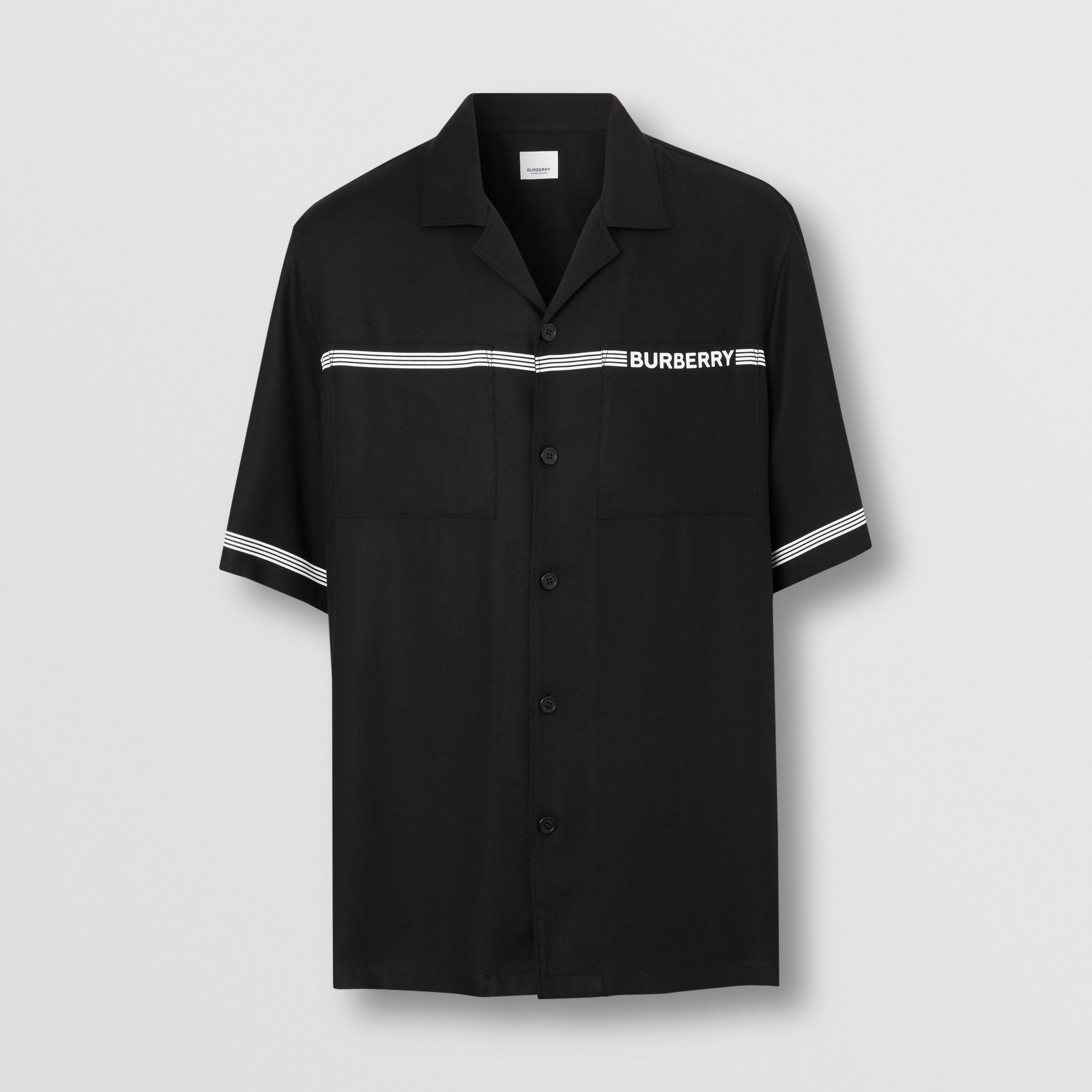 Short-sleeve Logo Print Twill Shirt in Black - Men | Burberry - 4