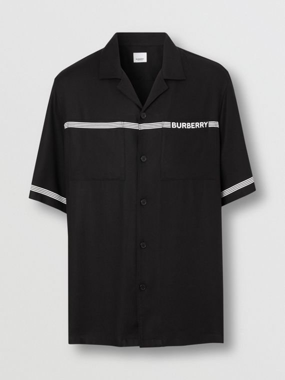 Short-sleeve Logo Print Twill Shirt in Black