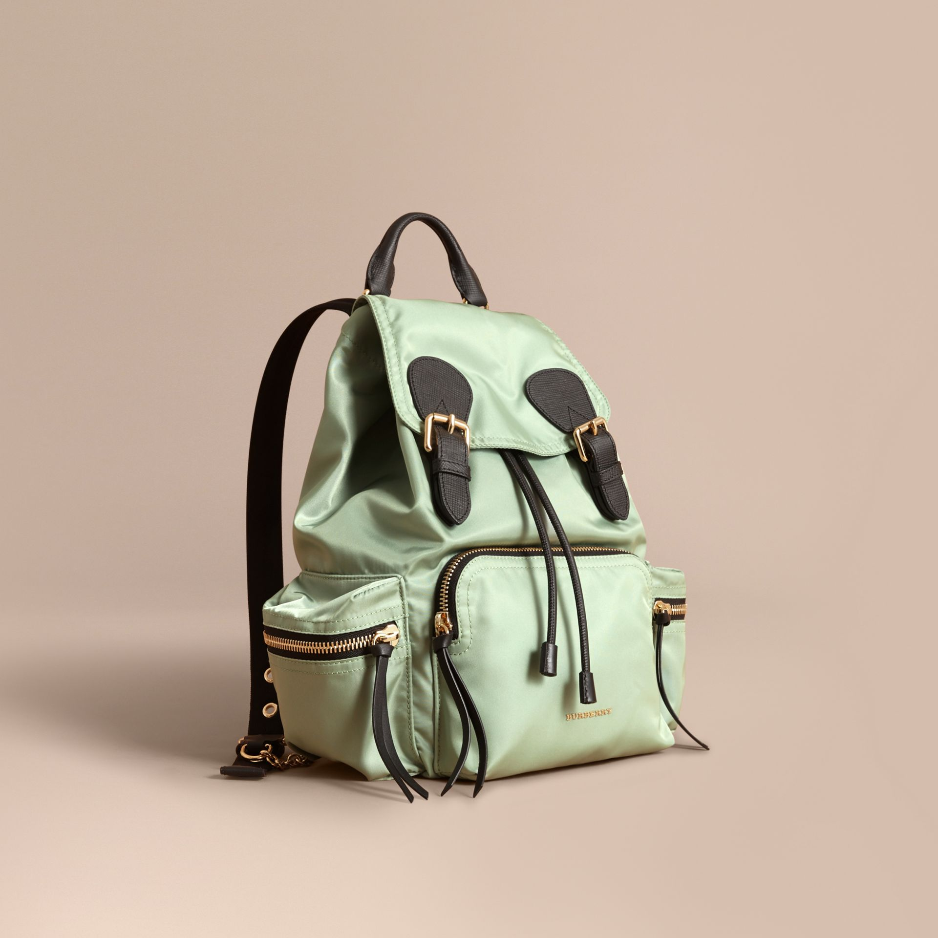 The Medium Rucksack in Technical Nylon and Leather in Apple Green - Women | Burberry - gallery image 1