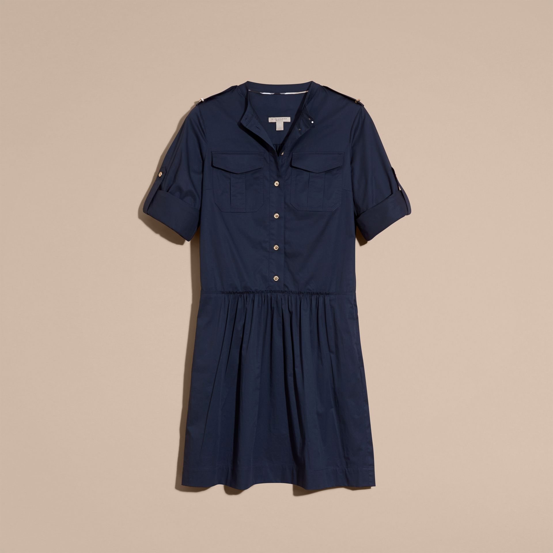 Dark pewter blue Military-inspired Cotton Blend Shirt Dress Dark Pewter Blue - gallery image 4