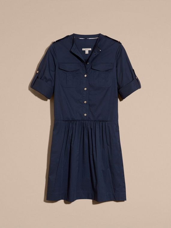 Dark pewter blue Military-inspired Cotton Blend Shirt Dress Dark Pewter Blue - cell image 3